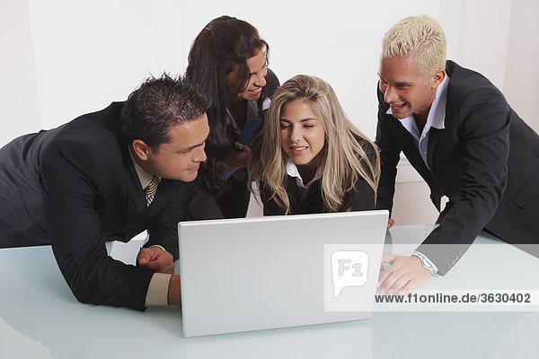 Two businessmen and two businesswomen using a laptop