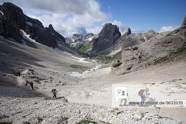 Peak of the Rosengarten massif with Vajolet valley  Dolomites range  South Tyrol  Italy  Europe
