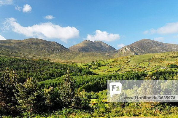 The Mourne Mountains  County Down  Northern Ireland South over the Trassey Valley and Tollymore Forest Park to Slieve Bearnagh