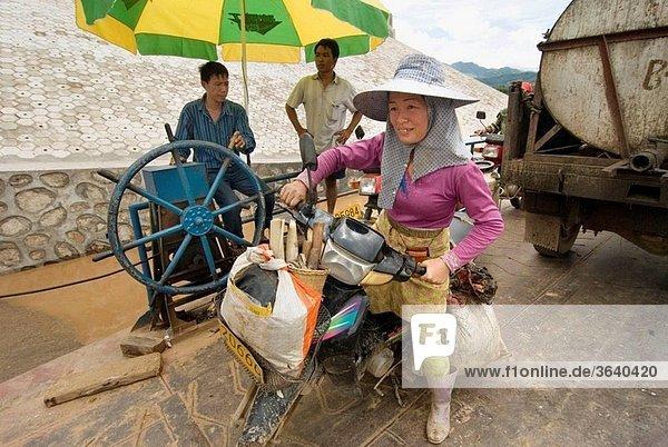 Ferry on the Mekong river  Ganlanba  Xishuangbanna  Yunnan province  China
