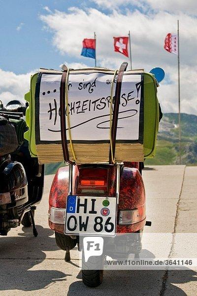 Honeymoon  Vespa  Nufenen pass  Canton Valais  Switzerland