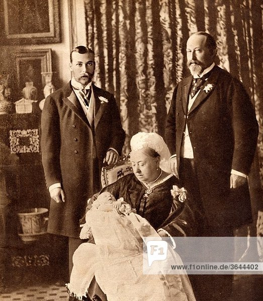 Four Generations of the English Royal Family Standing left  the future King George V  standing right  King Edward VII  seated Queen Victoria holding the future King Edward VIII From His Majesty King Edward VIII published 1936