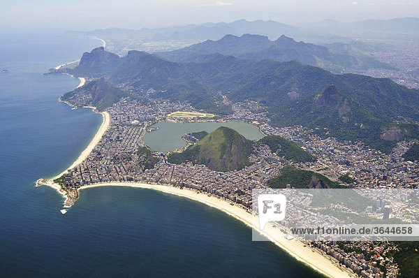 Aerial view of Copacabana beach  bottom  and Ipanema beach  Rio de Janeiro  Brazil  South America