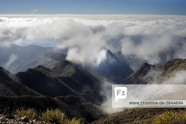 Above the clouds in the Villavicencio national park  Andes near Mendoza  Argentina  South America