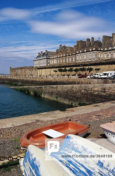 The port area of the walled city of St-Malo in the Brittany region of France