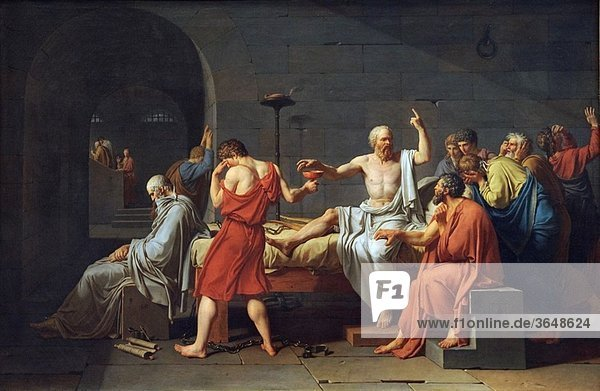 The Death of Socrates  1787  by Jacques-Louis David French  1748–1825  51 x 77 1/4 in 129 5 x 196 2 cm  Metropolitan Museum of Art  New York City