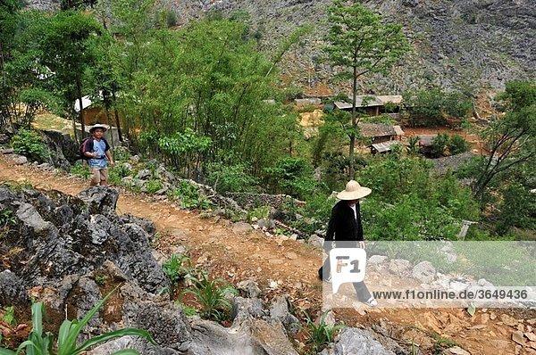 trekkers sur le chemin menant a un hameau de Sa Phin plateau de Dong Van province de Ha Giang nord Vietnam asie du sud-est//trekkers walking on a country lane around Sa Phin Dong Van plateau Ha Giang province northern Vietnam southeast asia