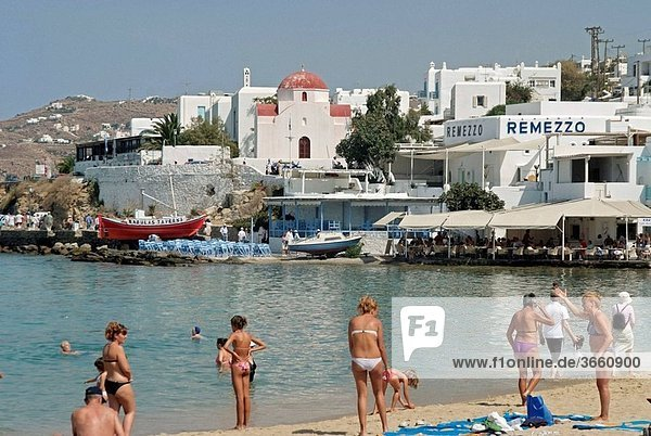 Chora  largest town on the island  Mykonos  part of the Cyclades in the Aegean See  Greece
