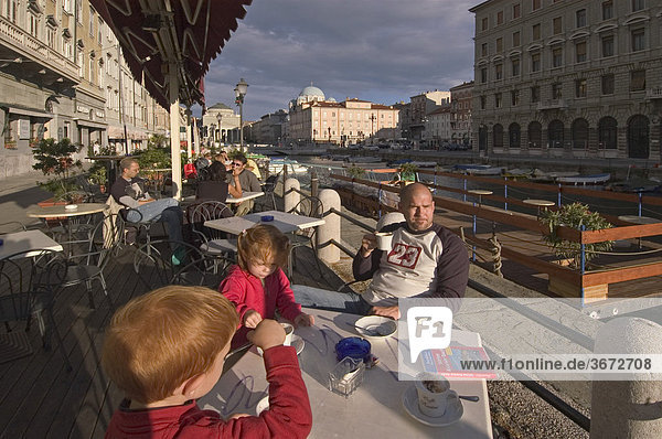 Triest Trieste Friuli Venezia Giulia Friaul Julian Venetian Italy cafe at the Canale Grande