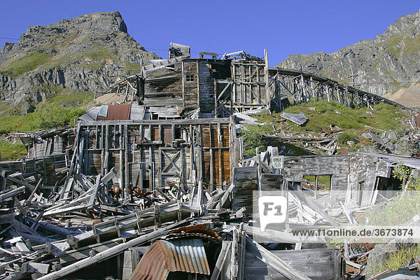 The area and the buildings of the Indipendence mine which was in operation till 1930 and is now a Historical State Park Hatcher Pass Alaska USA
