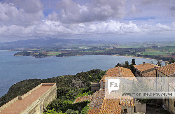 View from tower of the village of Populonia to the gulf of Baratti Tuscany Italy