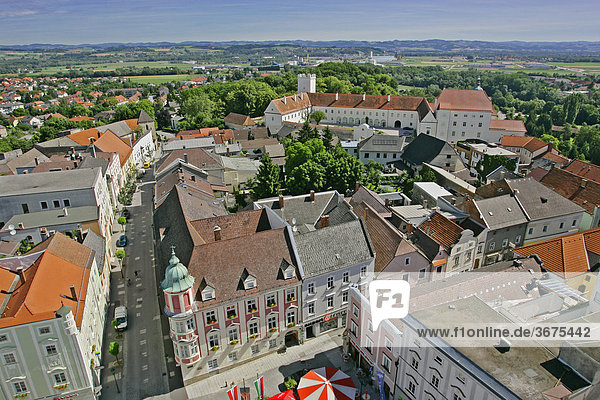 View from the clock tower over the center of the town Enns and to the palace of Ennsegg Upper Austria