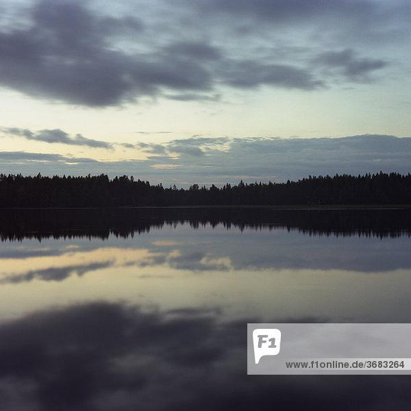 Himmel und Bäume spiegeln sich nachts im See.