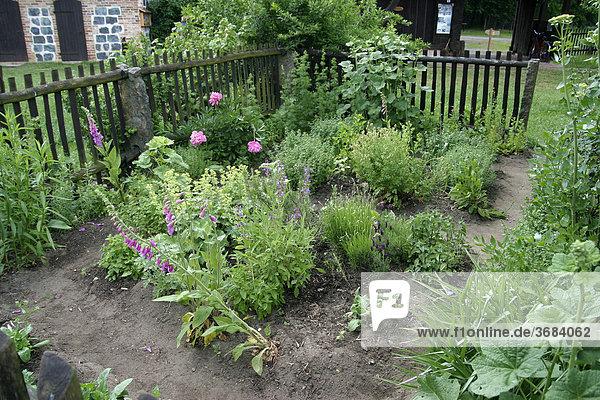 Kleiner Krautergarten Mit Holzernem Gartenzaun Ibxofs00014664