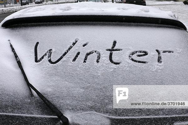 Verschneites Auto  Winter  Wintereinbruch mit Tief Daisy  Berlin  Deutschland  Europa