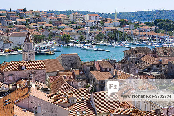 Overlooking the roofs of Trogir from the Campanile  bell tower of the Lawrence Cathedral towards the marina  Trogir  Northern Dalmatia  Croatia  Europe