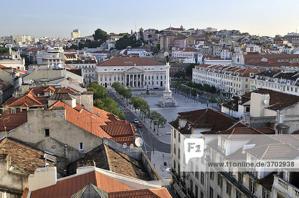 View of the Praca Rossio square from the Elevador Santa Justa elevator  Baixa District  Lisbon  Portugal  Europe