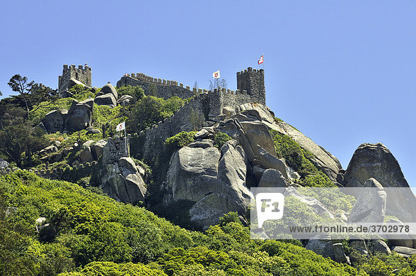 Castle ruin Castelo dos Mouros in Sintra near Lisbon  part of the Cultural Landscape of Sintra  UNESCO World Heritage Site  Portugal  Europe