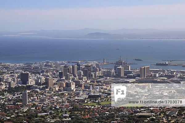 View over Cape Town from Table Mountain  South Africa  Africa