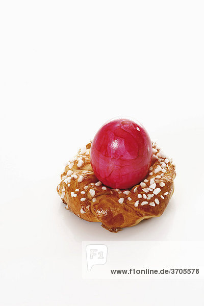 Small savarin with Easter egg  Easter pastry