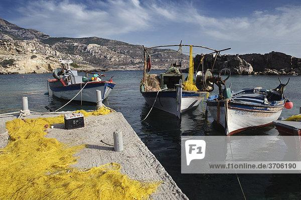 Lefkos fishing port  island of Karpathos  Aegean Islands  Dodecanese  Aegean Sea  Greece  Europe