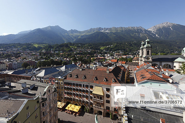 Historic city centre of Innsbruck with the Golden Roof and Cathedral  view from City Tower  Tyrol  Austria  Europe