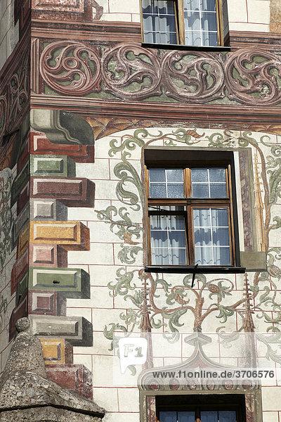 Detail of the facade of the Hotel Gasthof Goldener Adler  historic city centre of Innsbruck  Tyrol  Austria  Europe