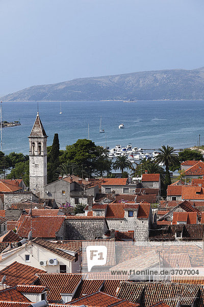 View from the spire of the cathedral to the west  Trogir  Dalmatia  Adriatic  Croatia  Europe