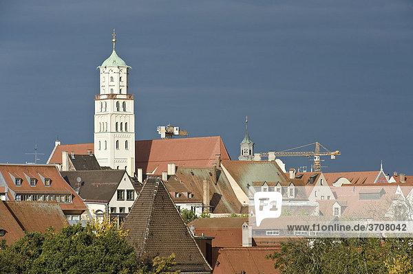 Über den Dächern der Augsburger Altstadt  Augsburg  Schwaben  Bayern  Deutschland  Europa
