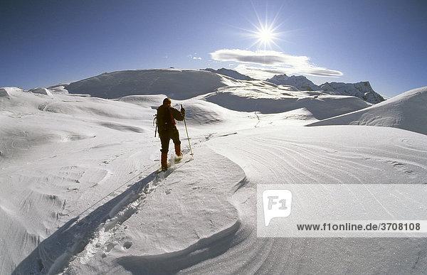 Schneeschuhgeherin auf der Sennes-Hochfläche  Naturpark Fanes-Sennes-Prags  Dolomiten  Italien  Europa