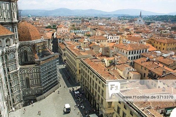 Florence  view from Giotto´s Campanile. Basilica di Santa Maria del Fiore  Duomo  Tuscany  Italy