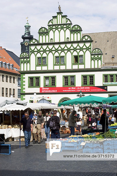 Weimar Thuringia Germany market square with house of the cellar of the towen hall