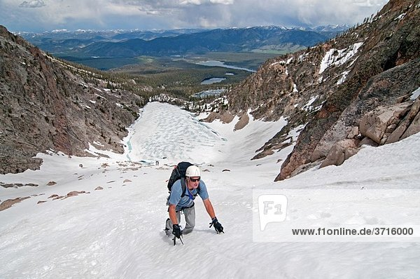 Mark Weber climbing the Petzoldt Couloir on Mount Heyburn high in the Sawtooth Mountains of central Idaho