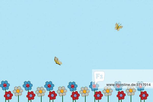 Zwei Schmetterlinge und Blumen