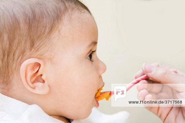 Baby Junge wird gefüttert