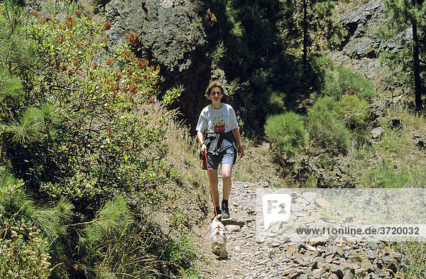 Frau mit kleinem Hund wandert in der Caldera de Taburiente auf La Palma  Kanarische Inseln  Spanien