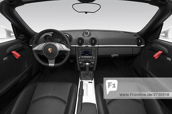2011 Porsche Boxster Spyder in weiß - Dashboard  Mittelkonsole  Getriebe-Shifter-Ansicht