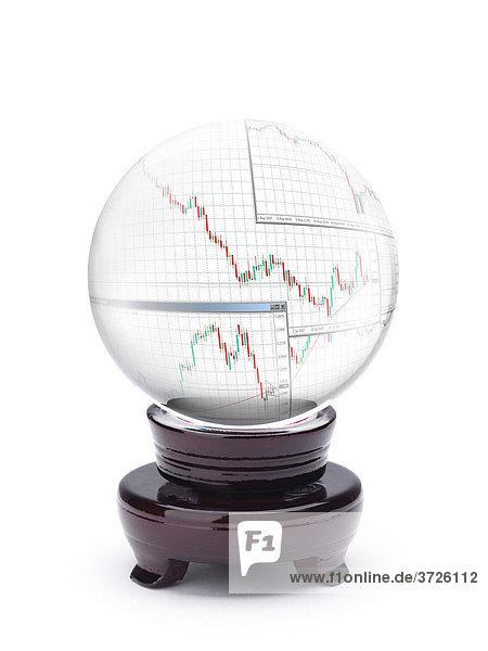 Kristallkugel mit Währungs-Wechselkursen  Forex Trends