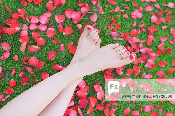 Füße einer Frau auf Blütenblätter