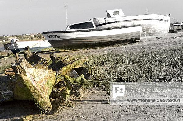 Verfallenes Holzboot auf dem Deich  Andalusien  Spanien  Europa