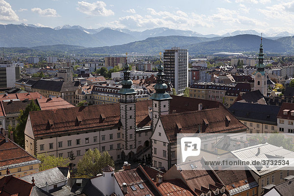 Villa  view from the steeple of St. Egyd  Klagenfurt  Carinthia  Austria  Europe