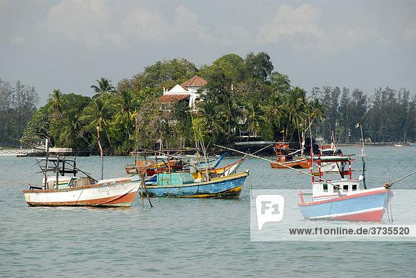 Fischerboote vor der Küste bei Matara  Indischer Ozean  Ceylon  Sri Lanka  Südasien  Asien