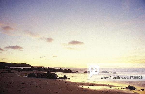Küste beim Cap FrehËl  Strand  Dämmerung  Sables d'Or  Bretagne  Frankreich  Europa