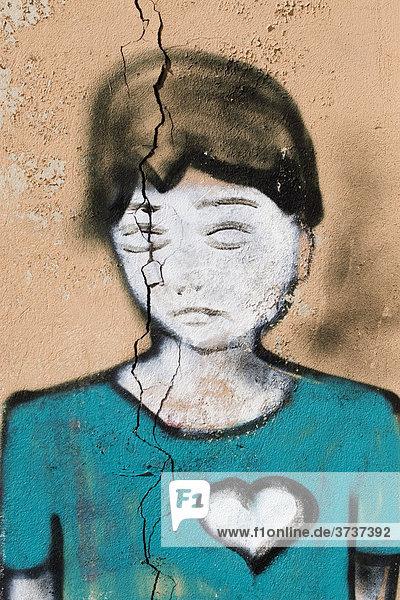 Graffiti eines traurigen Mädchens