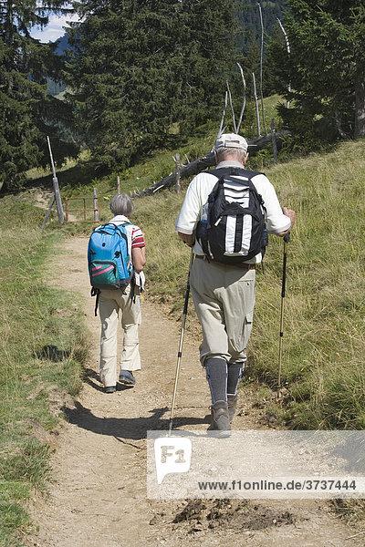 Älteres Paar beim Wandern  Rucksack  Wanderstöcke  Weg