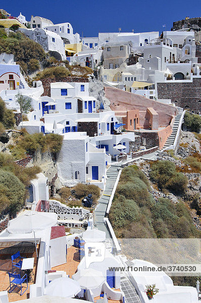 Interlocked houses in a typical Cycladic architectural style  Oia  Ia  Santorini  Cyclades  Greece  Europe