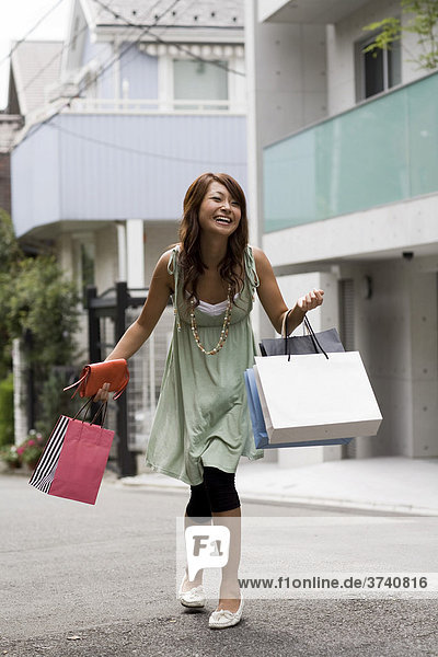 Young Asian woman shopping  Tokyo  Japan  Asia