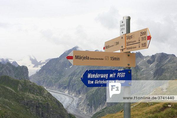 Wegweiser am Eggishorn  Wallis  Schweiz