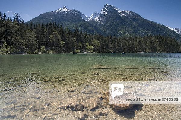 Lake Hintersee in front of Mount Hochkalter and the Schaertenspitze Peak  Berchtesgadener Land  Upper Bavaria  Germany  Europe