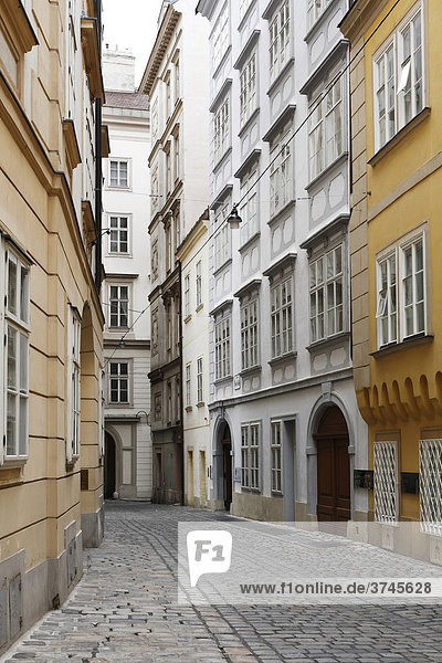 Domgasse with Mozarthaus  Mozart's house  second house on the right  Vienna  Austria  Europe